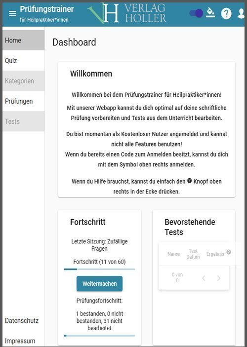 Prüfungstrainer Verlag Holler und HOLLER Heilpraktiker-Schule